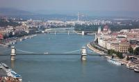 Panoramic view of Budapest with the Chain bridge - Novotel hotel on the bank of the Danube