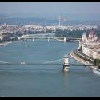 Vista panoramica del Danubio e dei ponti di Budapest - hotel Novotel sulla riva del Danubio